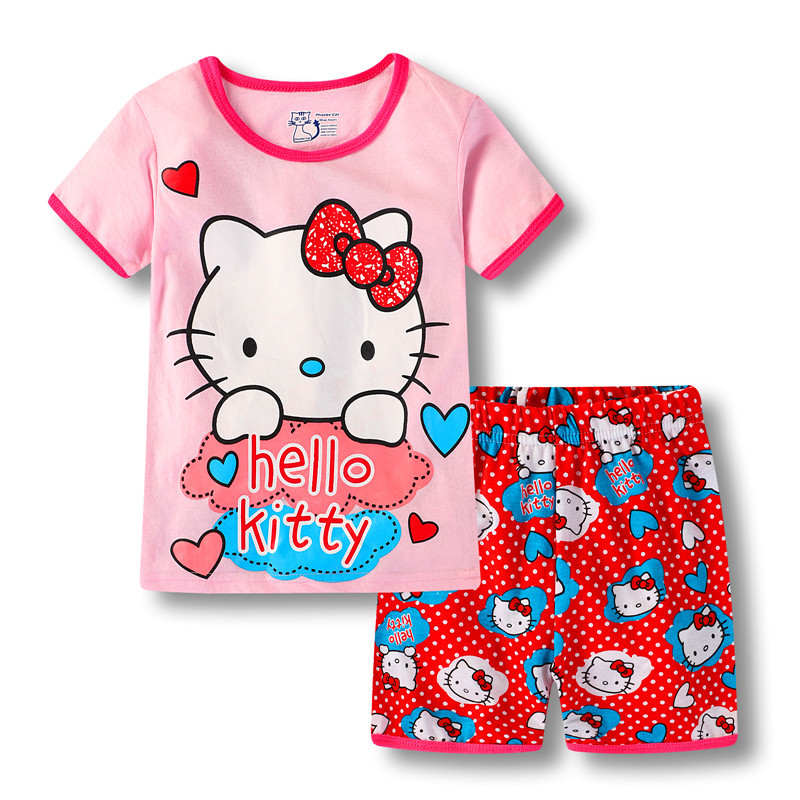 Toddler Kids Girl Pink Hello Kitty Summer Short Pajamas Sleepwear Set Cotton Pjs