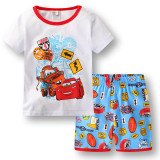 Toddler Kids Boy Red Racing Cars Summer Short Pajamas Sleepwear Set Cotton Pjs