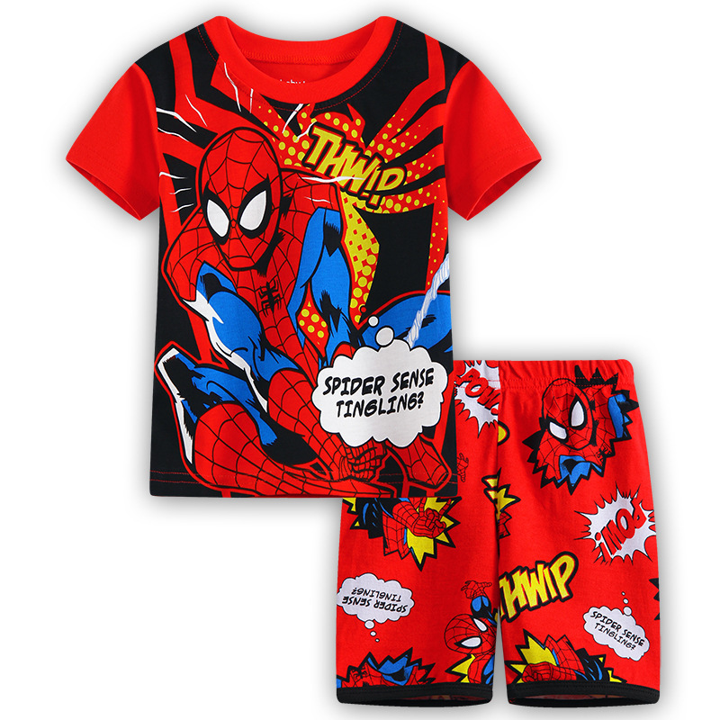 Toddler Kids Boy Spider Man Slogan Summer Short Pajamas Sleepwear Set Cotton Pjs
