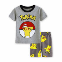 Toddler Kids Girl Yellow Pikachu Summer Short Pajamas Sleepwear Set Cotton Pjs