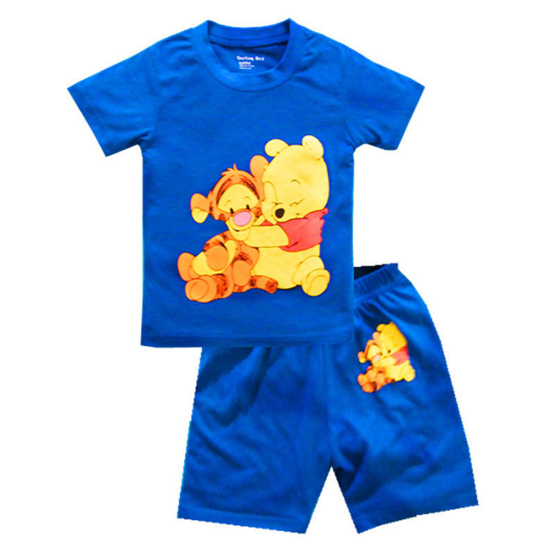 Toddler Kids Boy Winnie the Pooh Tiger Summer Short Pajamas Sleepwear Set Cotton Pjs