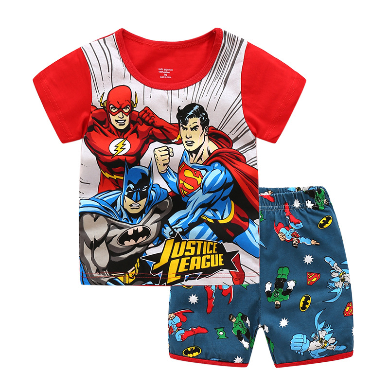 Toddler Kids Boy Captain America Summer Short Pajamas Sleepwear Set Cotton Pjs