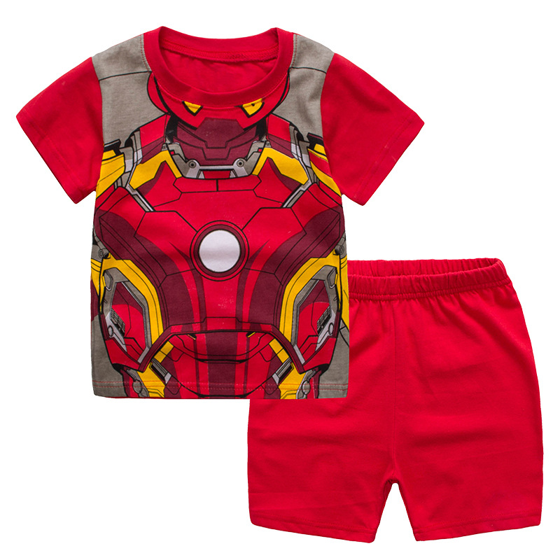 Toddler Kids Boy Iron Man Summer Short Pajamas Sleepwear Set Cotton Pjs
