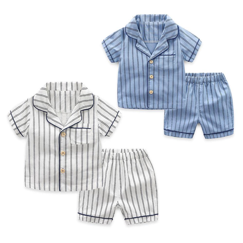 Toddler Kids Boy Stripes Summer Short Pajamas Sleepwear Set Cotton Pjs
