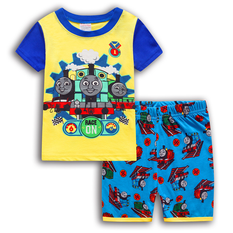 Toddler Kids Boy Thomas Train Summer Short Pajamas Sleepwear Set Cotton Pjs