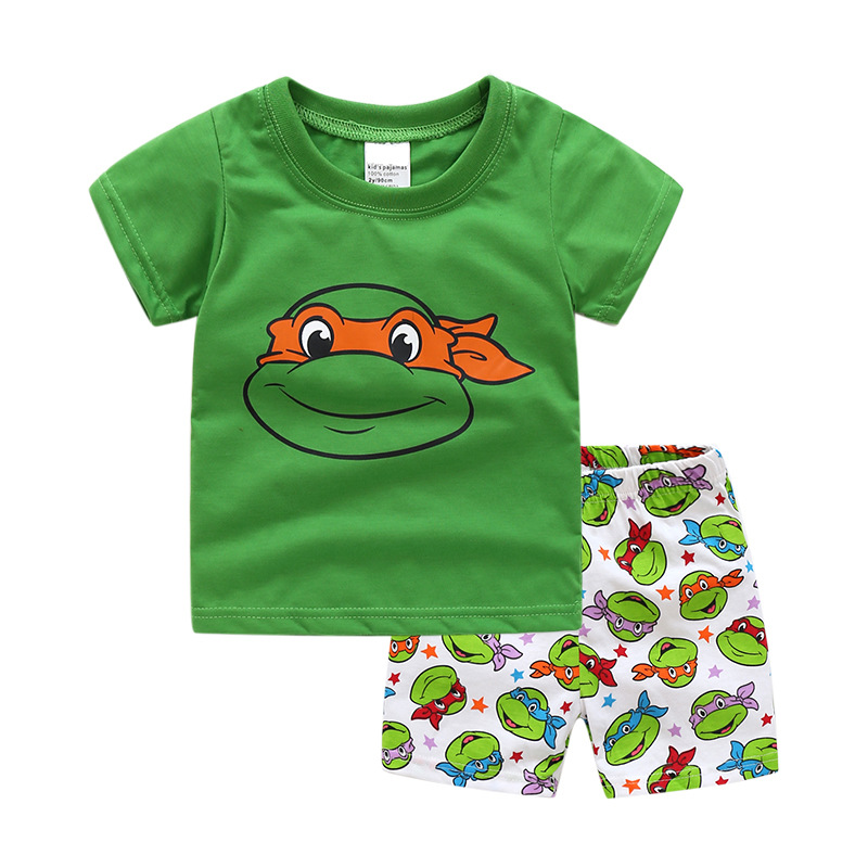 Toddler Kids Boy Teenage Mutant Ninja Turtles Summer Short Pajamas Sleepwear Set Cotton Pjs