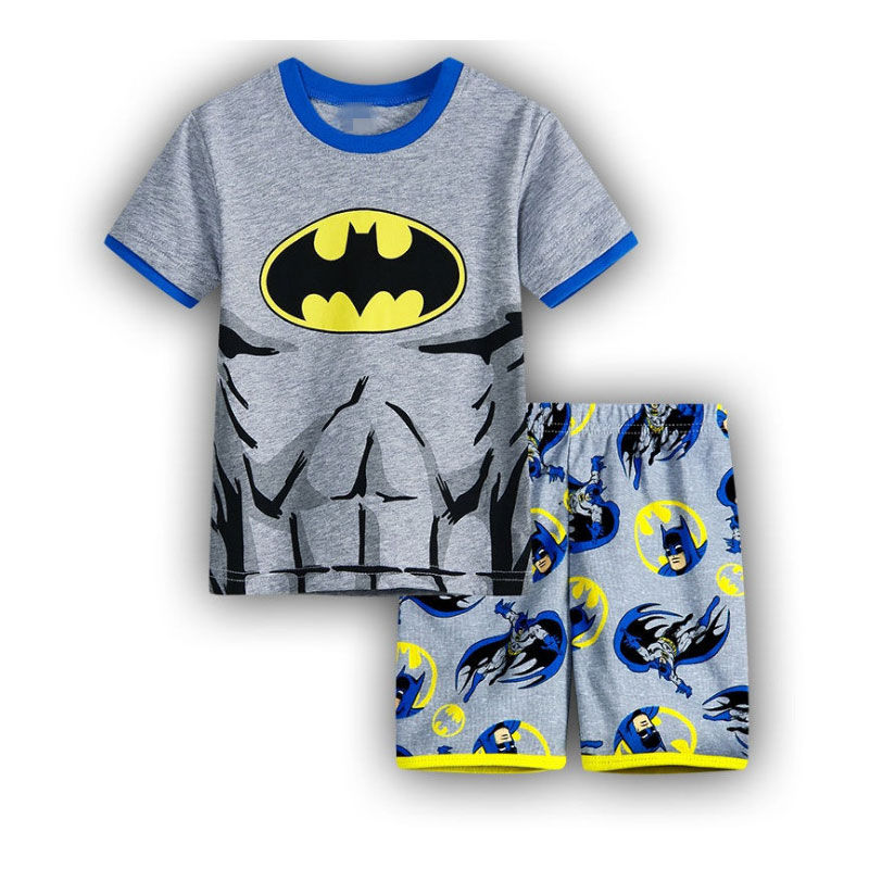 Toddler Kids Boy Bat Man Summer Short Pajamas Sleepwear Set Cotton Pjs
