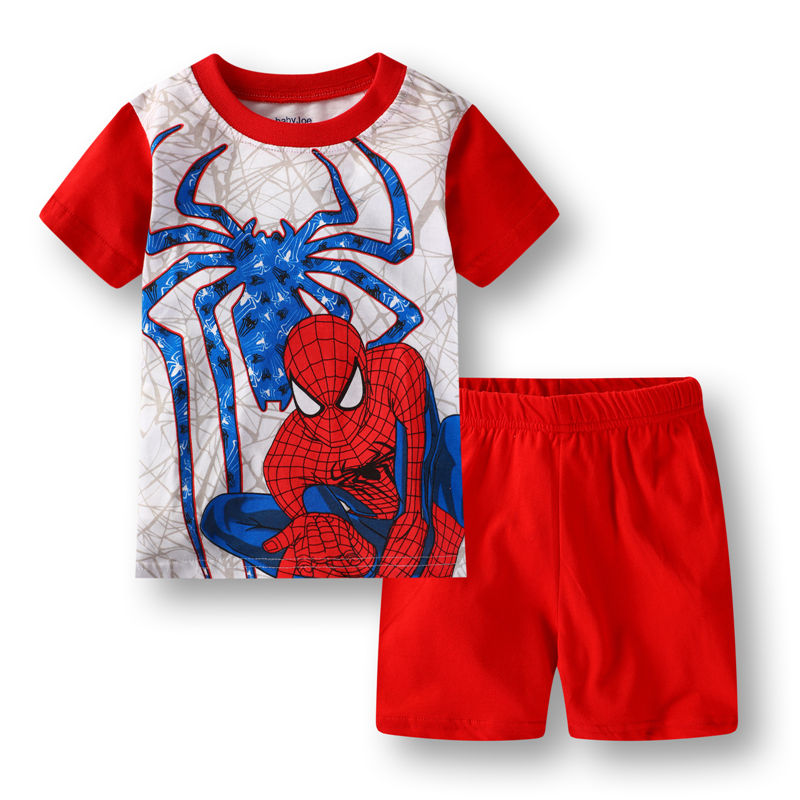 Toddler Kids Boy Spider Man Summer Short Pajamas Sleepwear Set Cotton Pjs