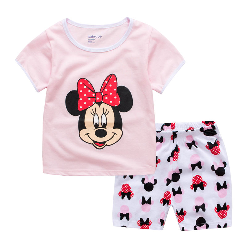 Toddler Kids Girl Minnie Mouse Summer Short Pajamas Sleepwear Set Cotton Pjs