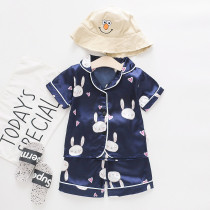 Toddler Kids Girl Prints Rabbits Summer Short Pajamas Rayon Silk Sleepwear Set