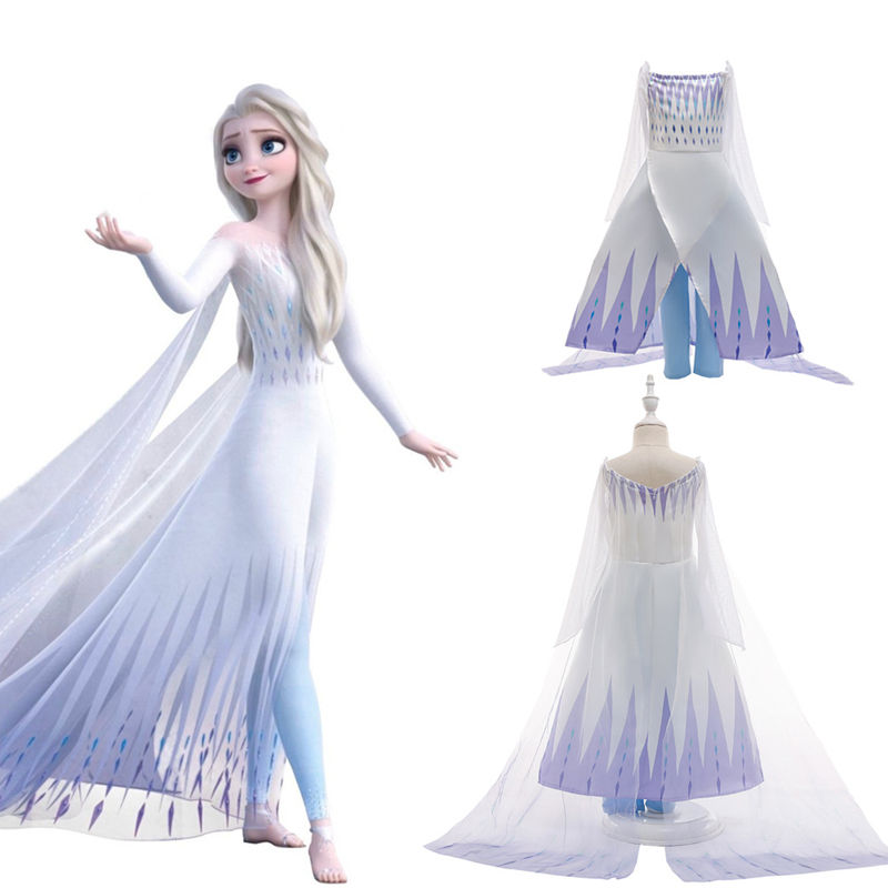 Toddler Girls Frozen Elsa White Princess Tutu Capelet Dress With Pants Set