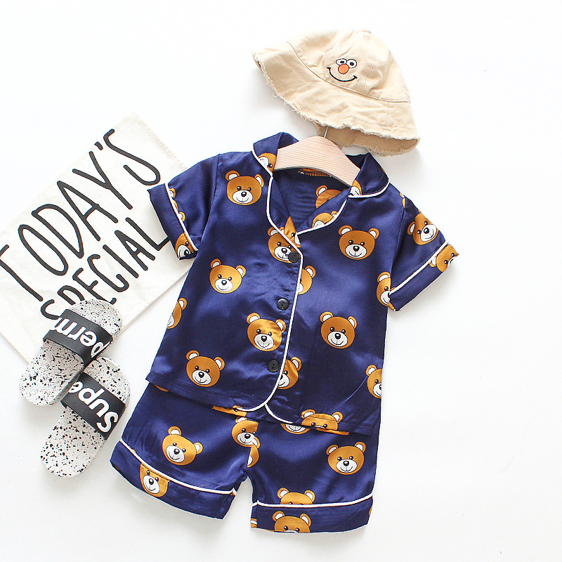 Toddler Kids Boy Prints Bears Summer Short Pajamas Rayon Silk Sleepwear Set