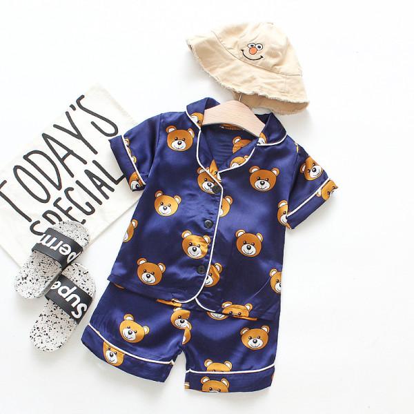 Toddler Kids Boy Prints Bears Summer Short Pajamas Rayon Silk Sleepwear Set