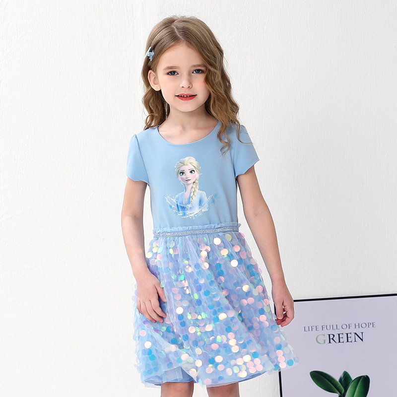Toddler Girls Frozen Elsa Sequins Princess Dress