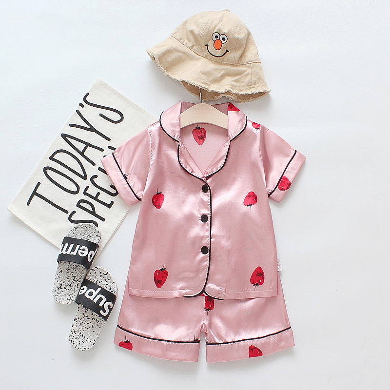 Toddler Kids Girl Prints Strawberry Summer Short Pajamas Rayon Silk Sleepwear Set