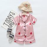 Toddler Kids Girl Prints Strawberry Summer Short Pajamas Rayon Silk Sleepwear Set