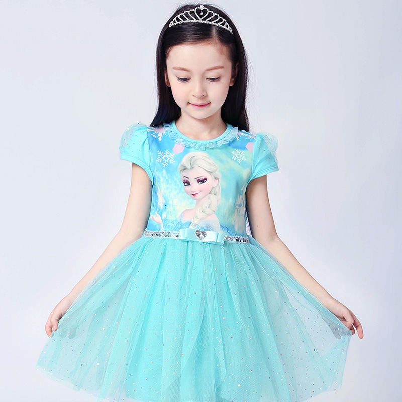 Toddler Girls Frozen Elsa Sequins Princess Tutu Dress