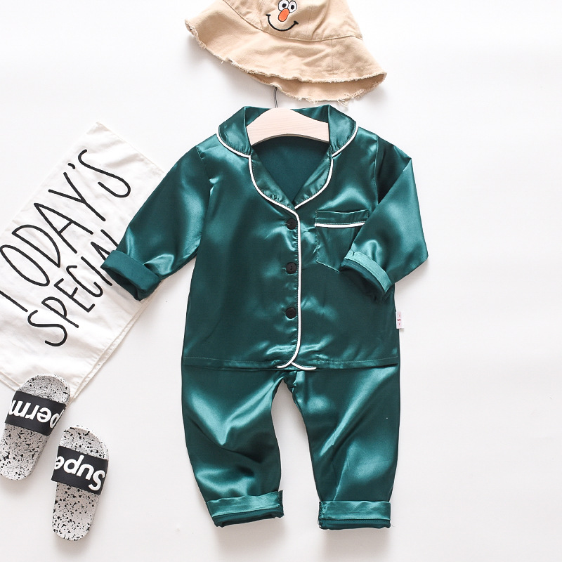 Toddler Kids Boy Pure Color Long Sleeves Pajamas Rayon Silk Sleepwear Set