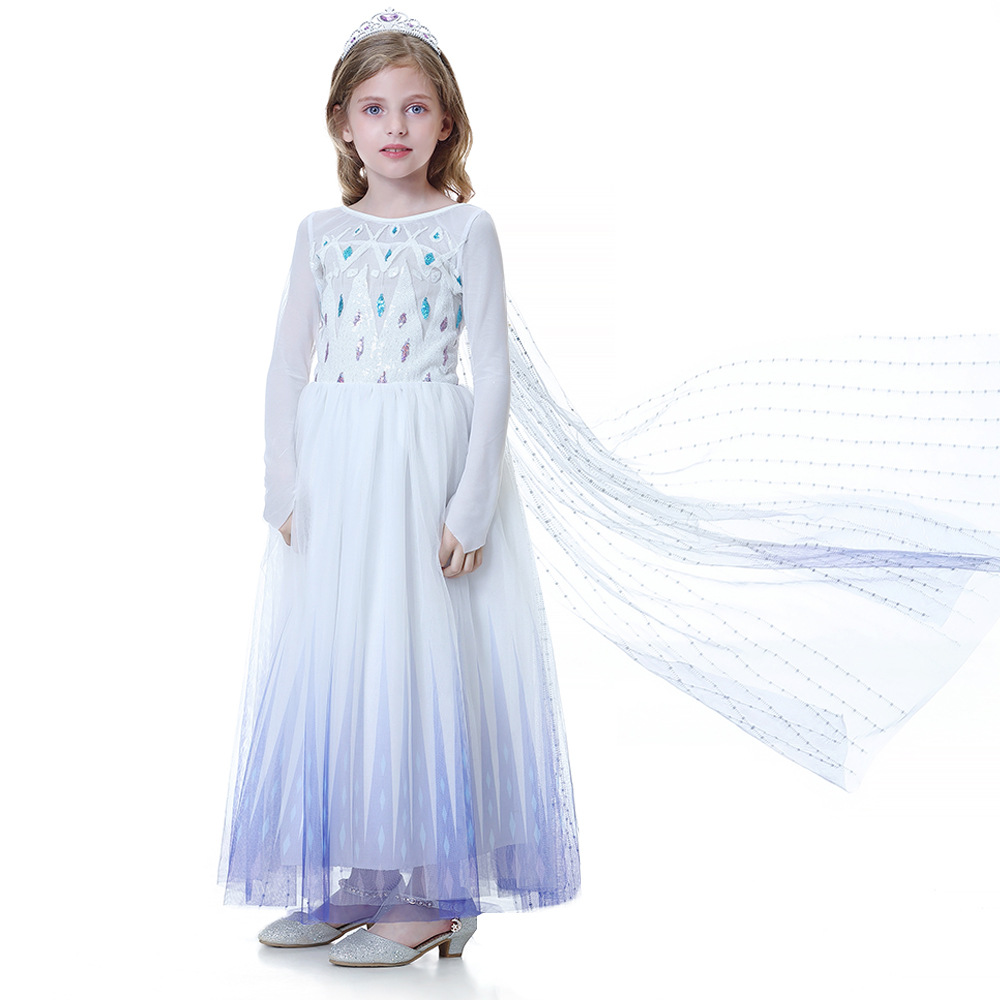 Toddler Girls Frozen Elsa White Sequins Princess Tutu Capelet Dress