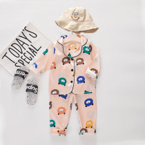 Toddler Kids Boy Pure Color Long Sleeves Pajamas Rayon Silk Sleepwear Set