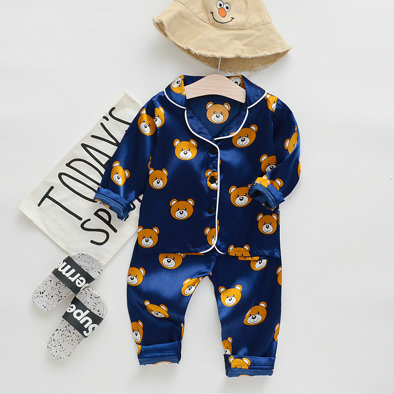 Toddler Kids Boy Prints Bears Long Sleeves Pajamas Rayon Silk Sleepwear Set