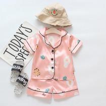 Toddler Kids Girl Prints Eggs Cookies Summer Short Pajamas Rayon Silk Sleepwear Set