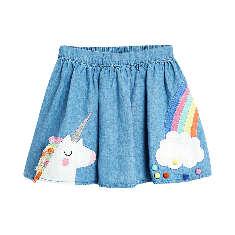 Kid Girl Blue Rainbow Unicorn Pompom Denim Skirt