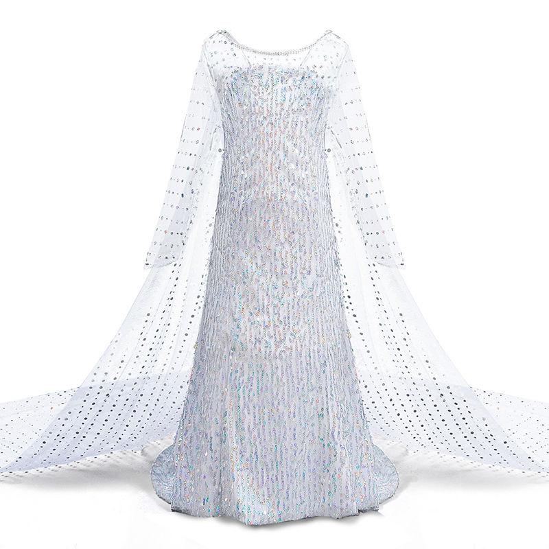 Toddler Girls Frozen White Sequins Elsa Princess Tutu Dress and Frozen Accessories 4PCS