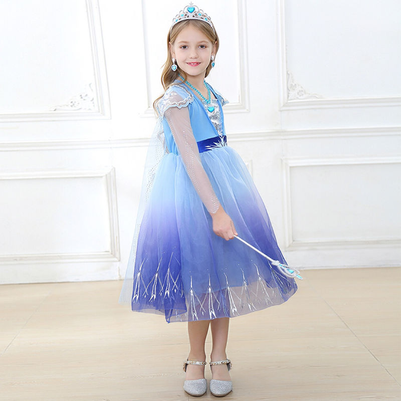 Toddler Girls Frozen Elsa Blue Princess Dress