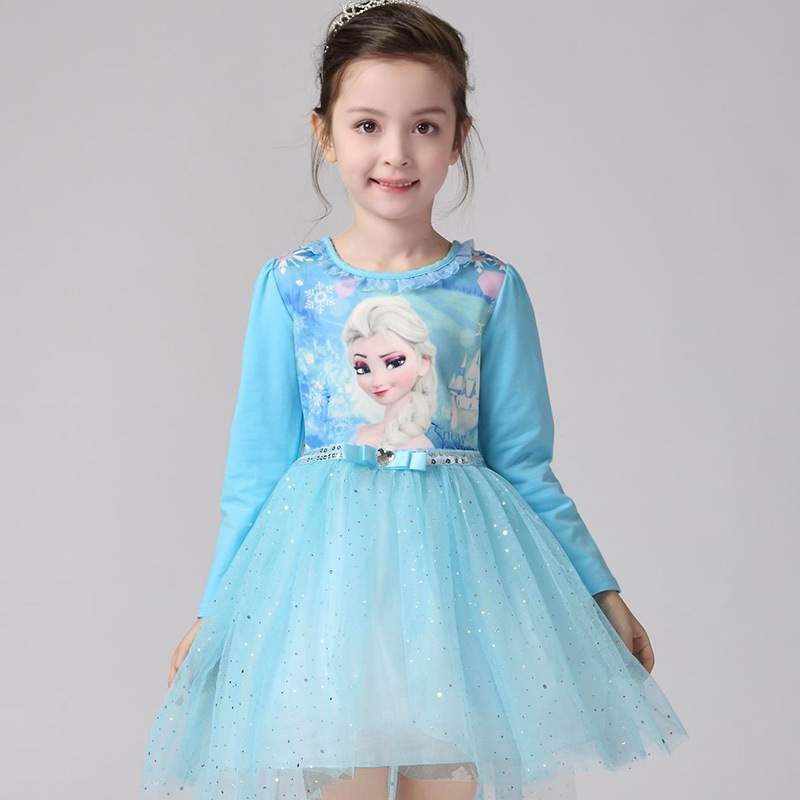 Toddler Girls Frozen Elsa Long Sleeves Sequins Princess Tutu Dress