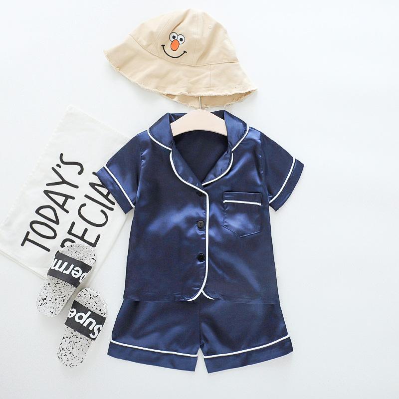 Toddler Kids Boy Pure Color Summer Short Pajamas Rayon Silk Sleepwear Set