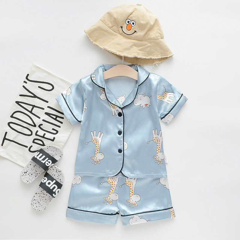 Toddler Kids Boy Prints Bears Giraffes Hippos Summer Short Pajamas Rayon Silk Sleepwear Set