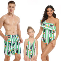 Family Matching Swimwear Green Stripe Toco Toucan One-shoulder Swimsuit