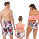 Family Matching Swimwear Off The Shoulder Ruffles Print Flowers Leaves Bikini Set