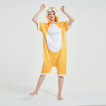 Kids And Adults Yellow Fox Summer Short Onesie Kigurumi Pajamas