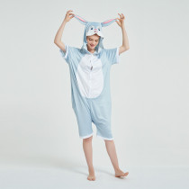 Kids And Adults Gray Rabbit Summer Short Onesie Kigurumi Pajamas