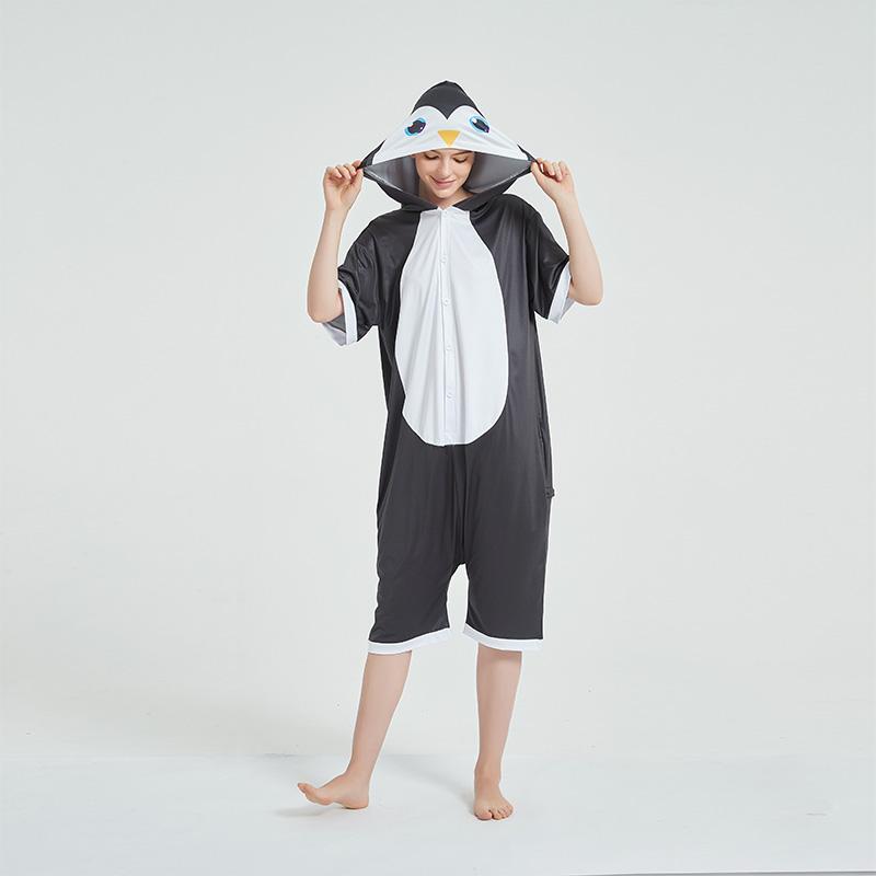 Kids And Adults Black Penguin Summer Short Onesie Kigurumi Pajamas