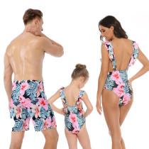 Family Matching Swimwear Prints Pink Flowers Leaves Ruffles V-neck Swimsuit