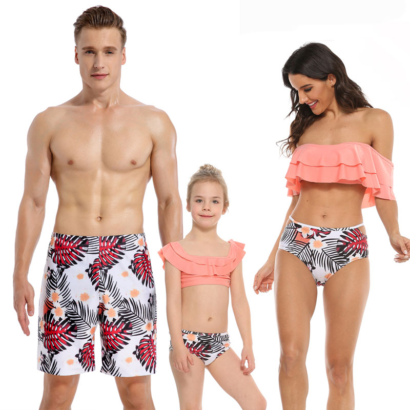 Family Matching Swimwear Off The Shoulder Ruffles Print Flowers Leaves Bikini Set