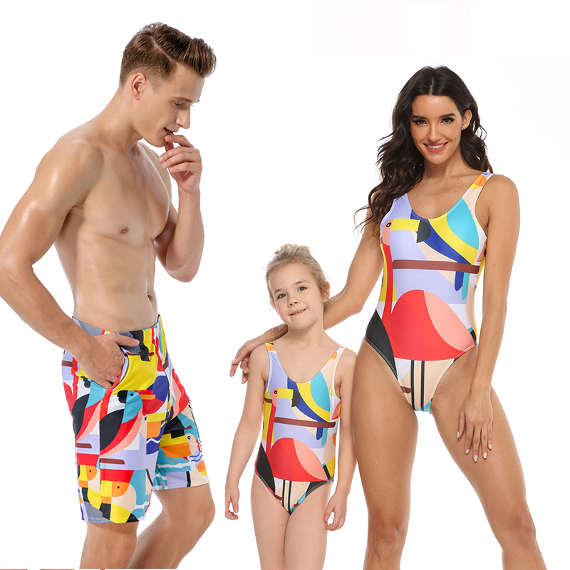 Family Matching Swimwear Red Flamingo Geometric Swimsuit
