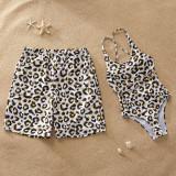 Family Matching Swimwear Prints Leopard Swimsuit and Swim Trunks