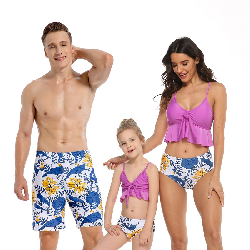 Family Matching Swimwear Printing Flowers Leaves V-neck Bikini Set