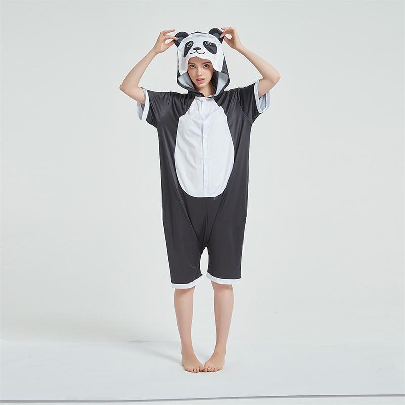 Kids And Adults Cute Black Panda Summer Short Onesie Kigurumi Pajamas