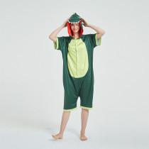 Kids And Adults Green Dinosaur Summer Short Onesie Kigurumi Pajamas