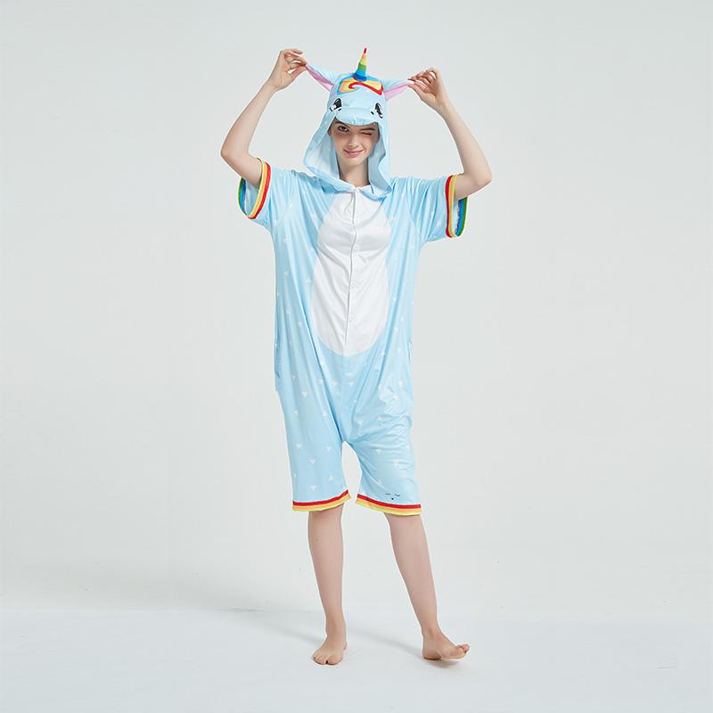 Kids And Adults Rainbow Unicorn Summer Short Onesie Kigurumi Pajamas