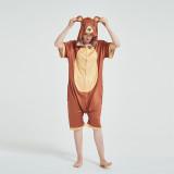 Kids And Adults Cute Brown Bear Summer Short Onesie Kigurumi Pajamas