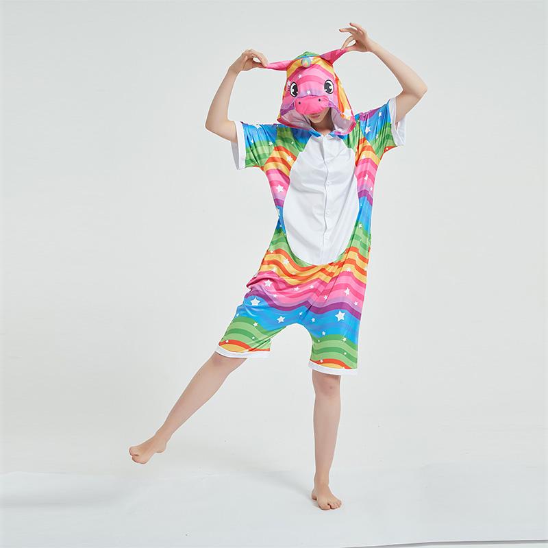 Kids And Adults Rainbow Wave Unicorn Summer Short Onesie Kigurumi Pajamas
