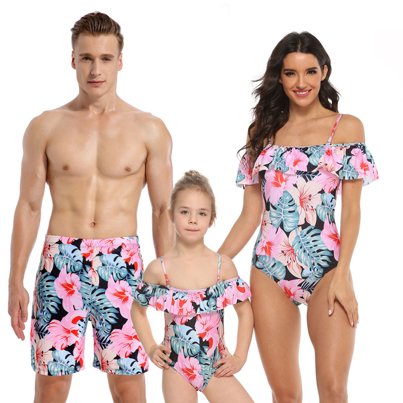 Family Matching Swimwear Prints Pink Flowers Leaves Ruffles Slip Swimsuit