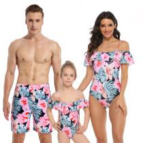 Family Matching Swimwear Prints Pink Flowers Leaves Ruffles Slip Swimsuit