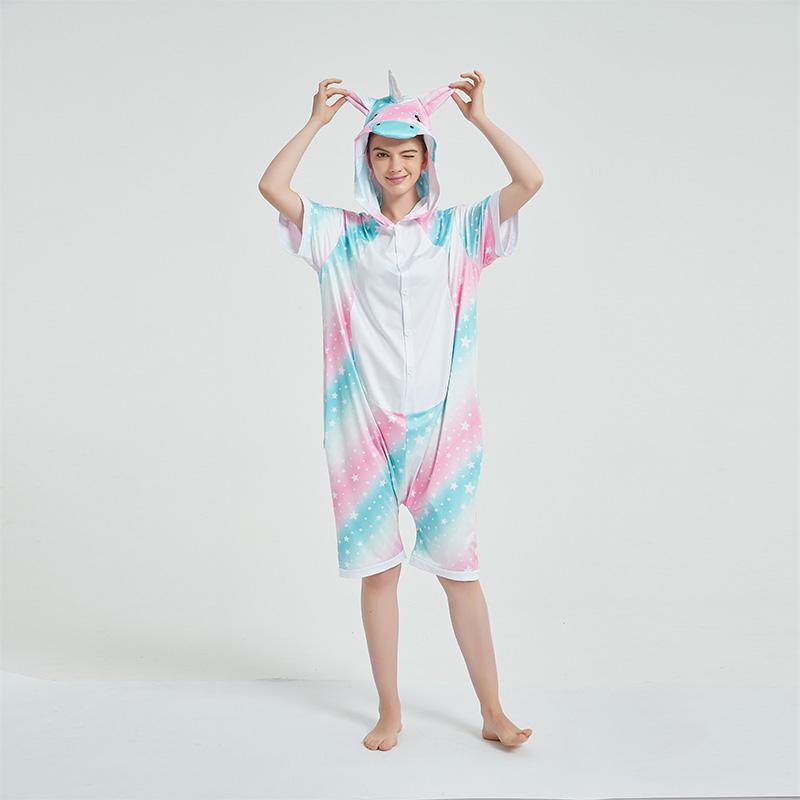 Kids And Adults 3 Color Stars Sky Summer Short Onesie Kigurumi Pajamas